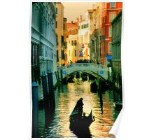 Italy. Venice lonely boatman Poster