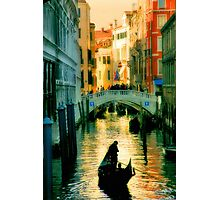 Italy. Venice lonely boatman Photographic Print