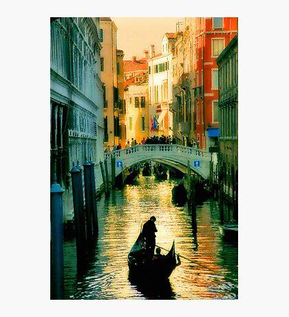 Italy. Venice lonely boatman Photographic Print