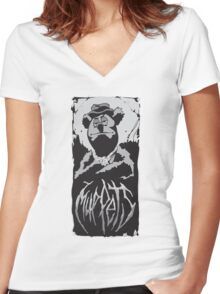 Death Metal Fozzie Muppets Women's Fitted V-Neck T-Shirt