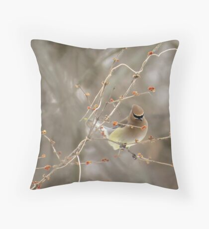 Cedar Waxwing Surrounded By Berries Throw Pillow