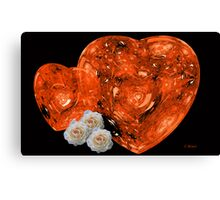 Red Hearts and White Roses Canvas Print