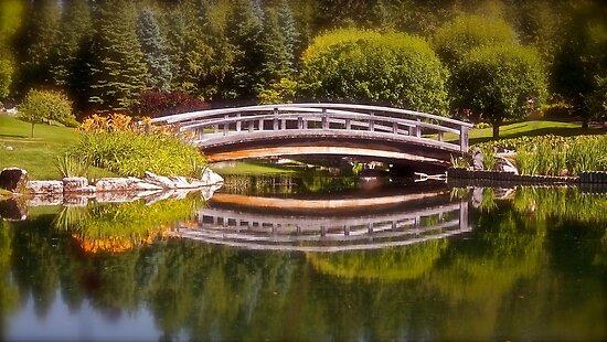 Garden Bridge Reflections by Linda Bianic