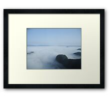 Foggy helicopter ride Framed Print