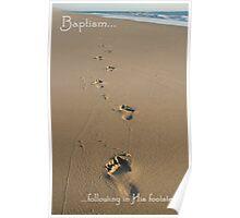 Footprints Baptism Card Poster