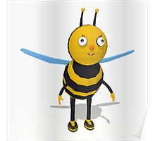 Cartoon bee low poly style Poster