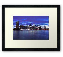 New York City Skyline Blue Framed Print