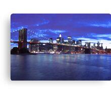 New York City Skyline Blue Canvas Print