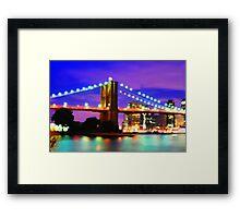New York City Skyline Purple Bridge Framed Print