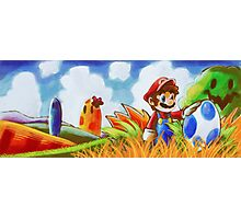 Mario and the Blue Yoshi Egg Photographic Print