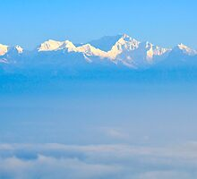 Snow capped Himalayas as seen in Sikkim, India by PhotoStock-Isra