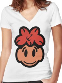 Cute Smiling Face Women's Fitted V-Neck T-Shirt