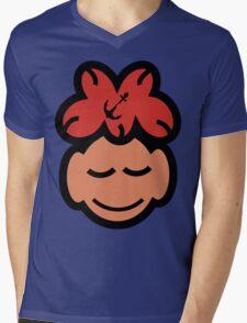 Cute Sleeping Face Mens V-Neck T-Shirt