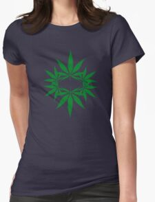 weed ganja  smoke for rasta Womens Fitted T-Shirt