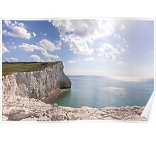 Chalky cliffs at Seaford Head Poster