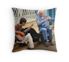 Fiddling on The Bridge Throw Pillow