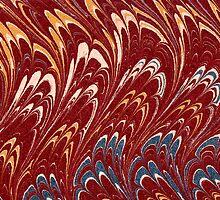Antique Marbled Paper Red White Blue by Pixelchicken