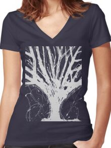 Abstract Tree Painting by Parrish Lee Women's Fitted V-Neck T-Shirt