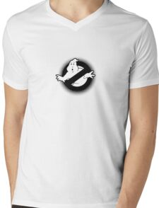Original Ghostbusters Halftone Logo (in black and white) Mens V-Neck T-Shirt