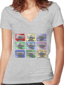 80's Tape Cassette Tee Women's Fitted V-Neck T-Shirt