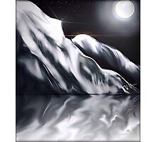 Icy Hills Under Moon Photographic Print