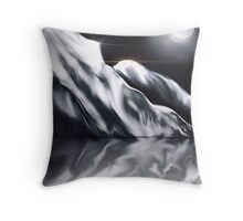Icy Hills Under Moon Throw Pillow
