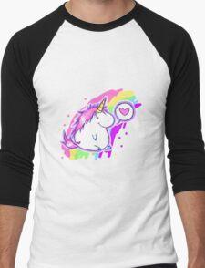 Fat cute unicorn Men's Baseball ¾ T-Shirt