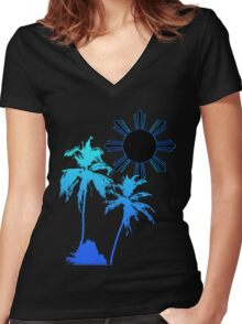 Tranquil Skies and Seas Women's Fitted V-Neck T-Shirt
