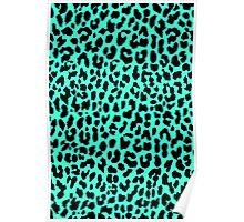 Neon Mint Leopard Poster