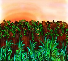 Sunset Over Fence by Penny Marcus