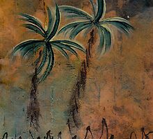 PALMS ON BARK NIGHT by dkatiepowellart