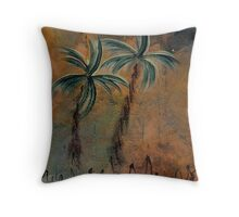 PALMS ON BARK NIGHT Throw Pillow