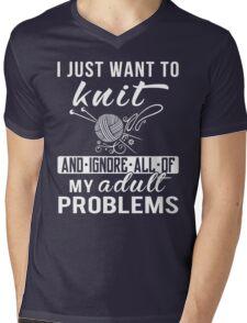 I Just Want to Knit Shirt Mens V-Neck T-Shirt