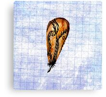 Brown Feather On Graph Canvas Print