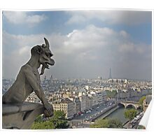 Gargoyle surveying Paris Poster