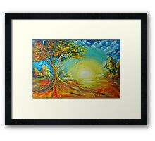 New tree in field of loneliness Framed Print