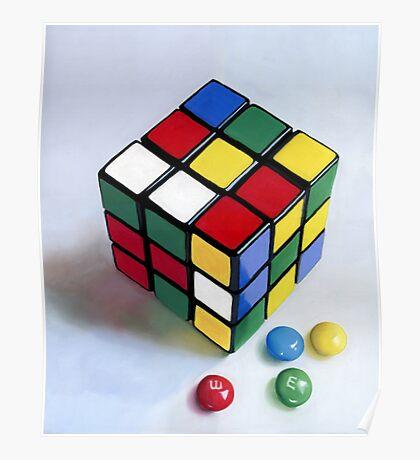 Rubik's Cube pastel painting Poster