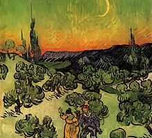 'Landscape with Couple Walking and Crescent Moon' by Vincent Van Gogh (Reproduction) by Roz Abellera