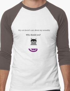 'My cat doesn't care about my sexuality' Asexual Men's Baseball ¾ T-Shirt