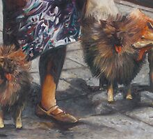 painting of a woman walking three dogs by PhotoStock-Isra