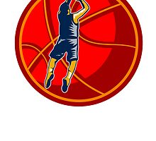 Basketball Player Jump Shot Ball Woodcut retro by patrimonio