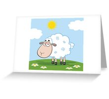 Cute White Sheep On A Meadow Greeting Card