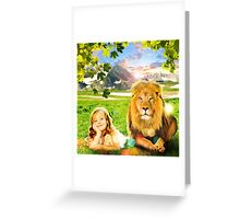 Just See Yourself (Girl and Lion) Greeting Card