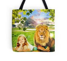 Just See Yourself (Girl and Lion) Tote Bag