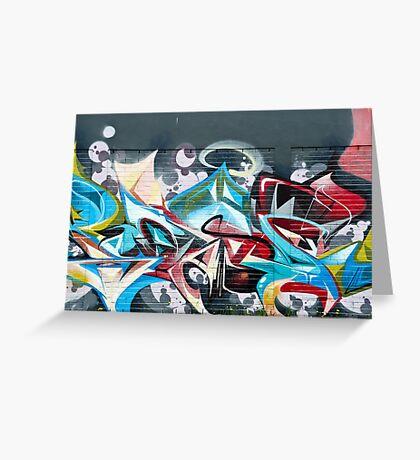 Abstract Graffiti on the brick textured wall Greeting Card