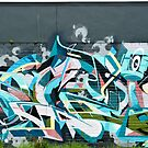 Abstract Graffiti detail on the textured textured wall by yurix