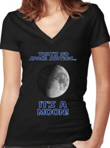 That's No Space Station Women's Fitted V-Neck T-Shirt