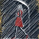 Walkin' in the Rain (Red OSB Edition) Painting by Richard Yeomans