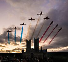 Red Arrows over Lincoln Cathedral by J Biggadike
