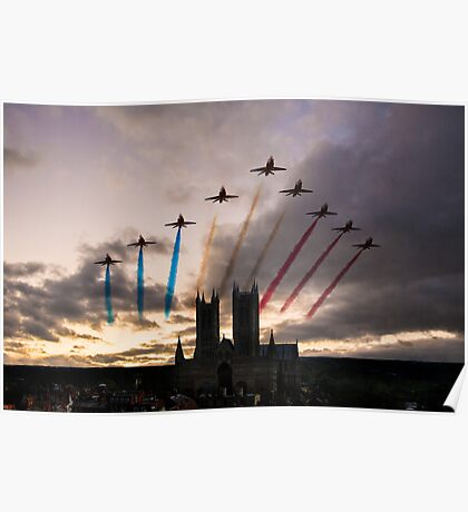 Red Arrows over Lincoln Cathedral Poster